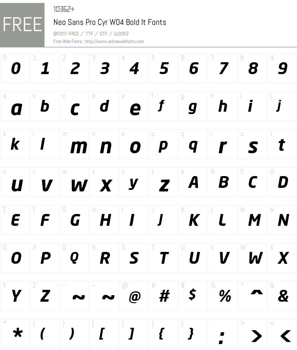 NeoSansProCyrW04-BoldItalic Font Screenshots