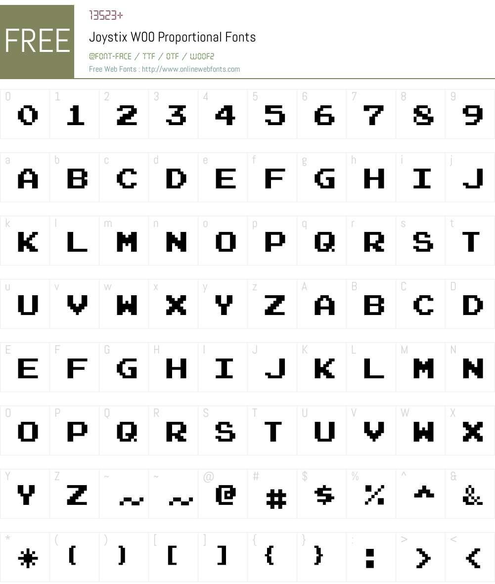 JoystixW00-Proportional Font Screenshots