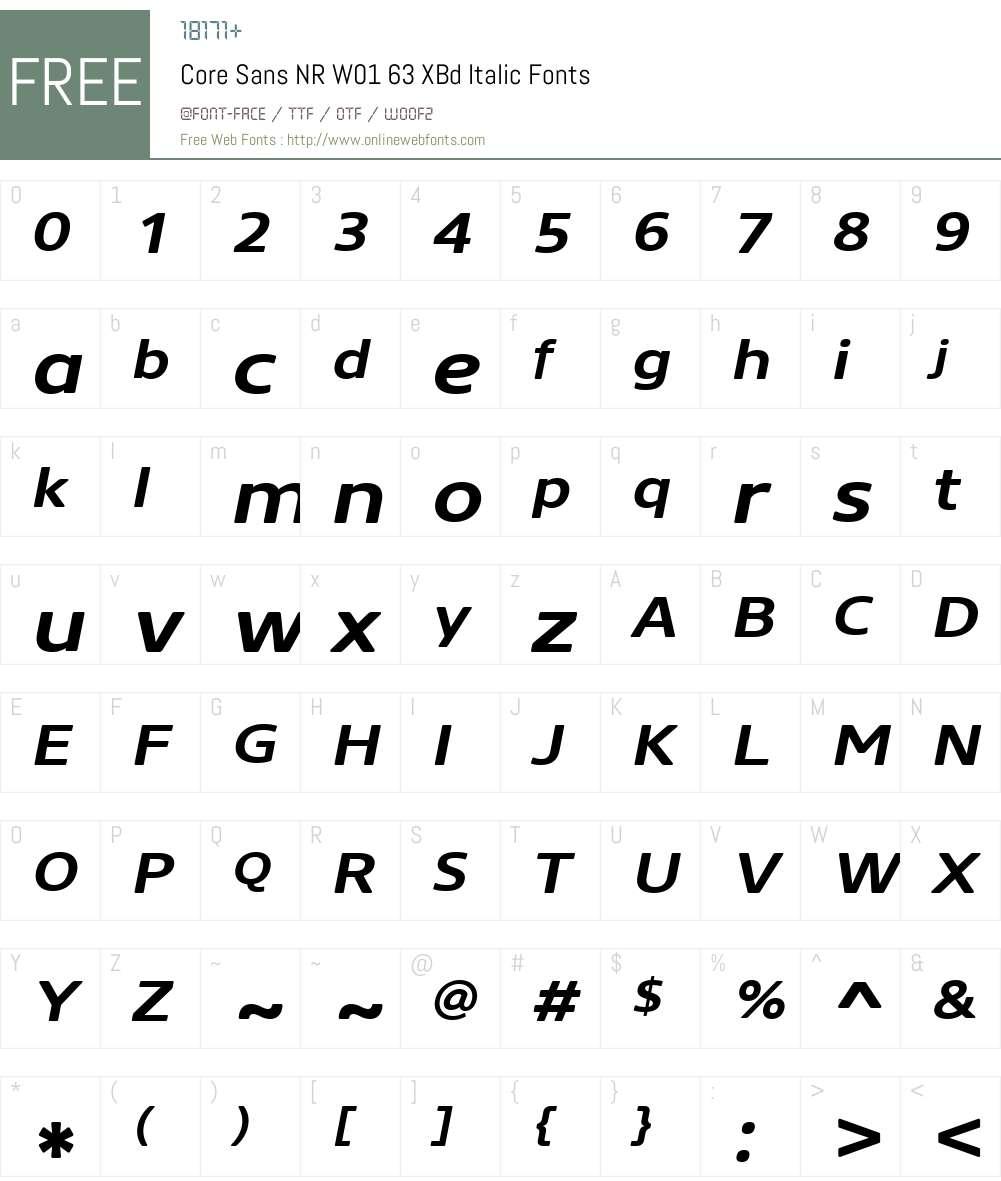 CoreSansNRW01-63XBdItalic Font Screenshots