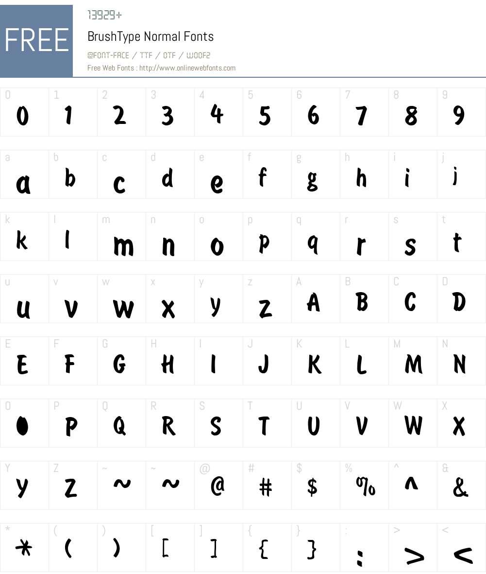 BrushType Font Screenshots
