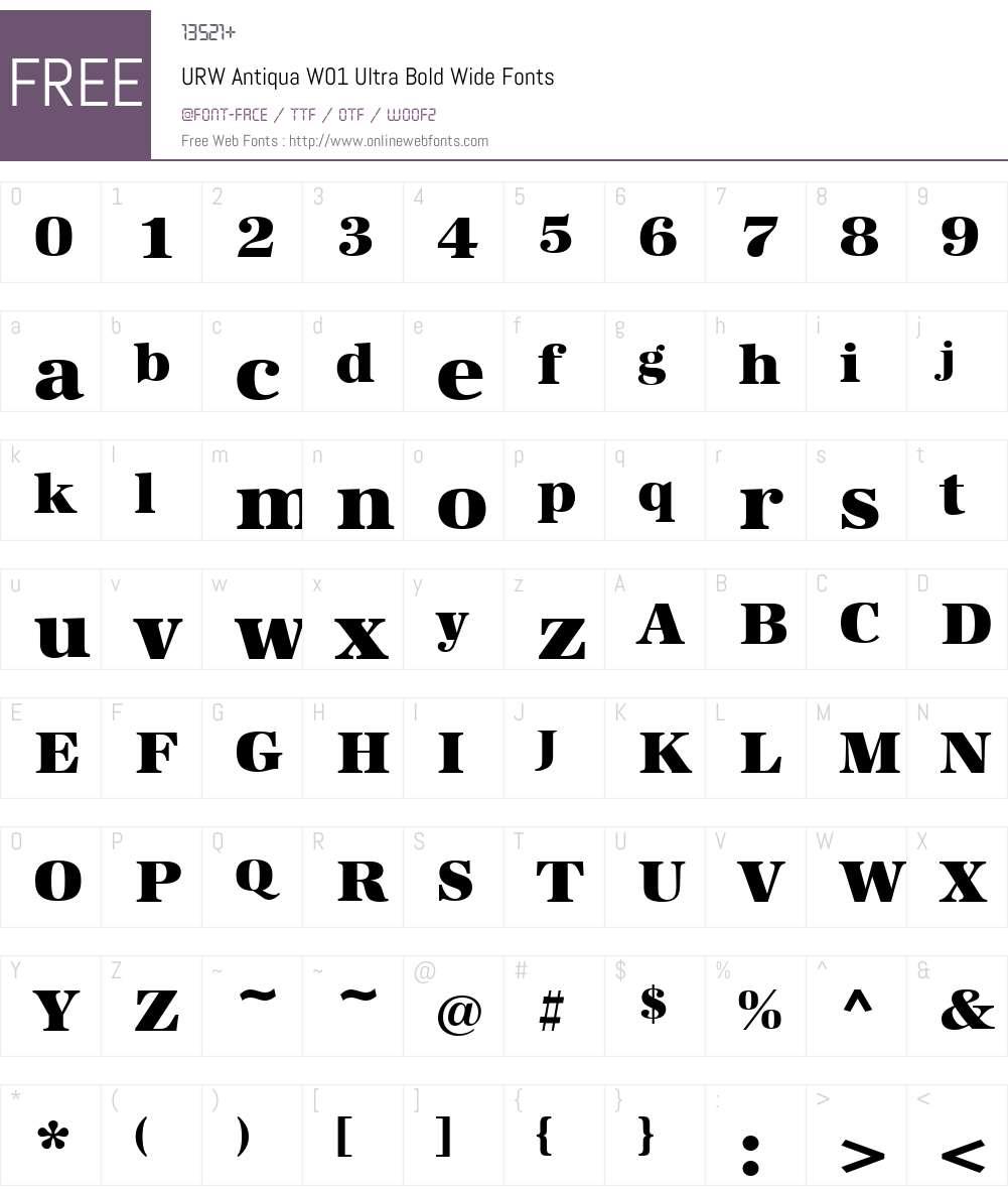 URWAntiquaW01-UltraBoldWide Font Screenshots