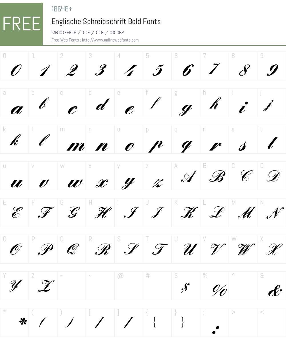 Englische Schreibschrift BQ Font Screenshots