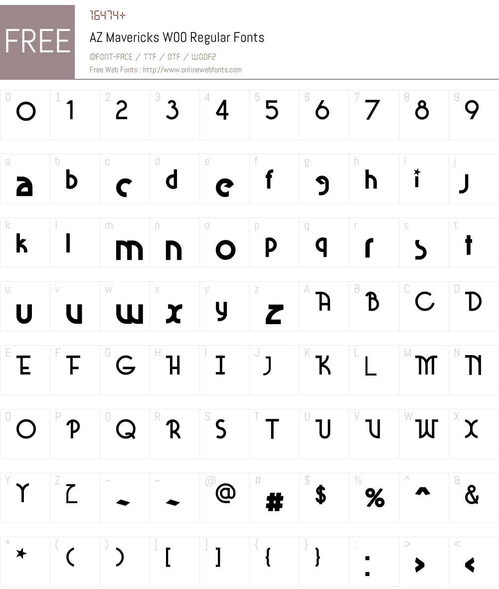 AZMavericksW00-Regular Font Screenshots