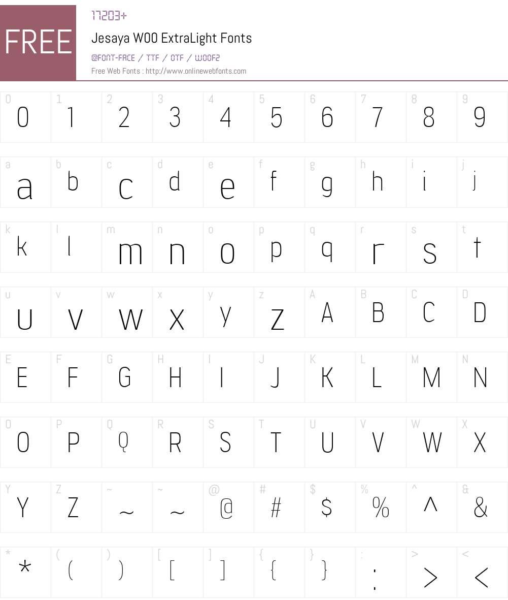 JesayaW00-ExtraLight Font Screenshots
