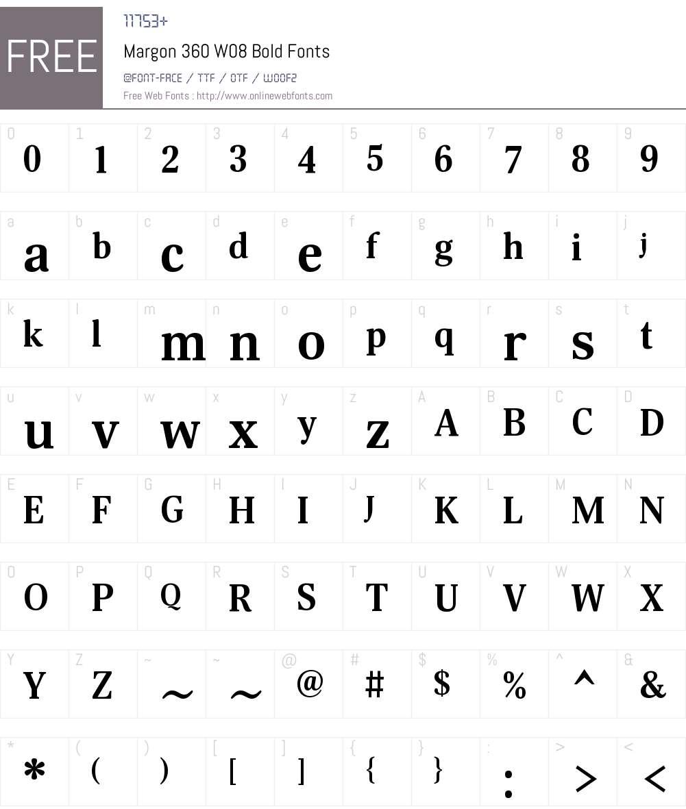 Margon360W08-Bold Font Screenshots