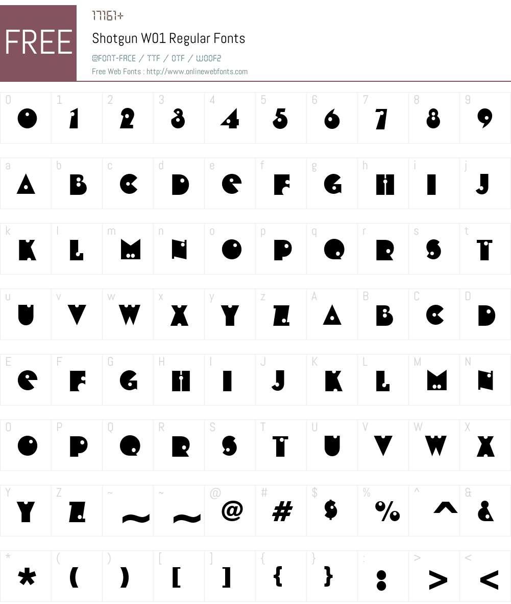 ShotgunW01-Regular Font Screenshots