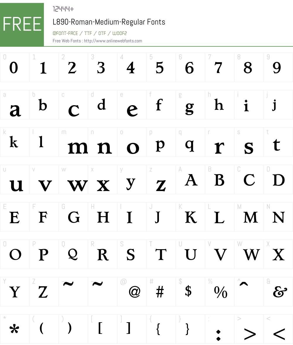 L890-Roman-Medium Font Screenshots