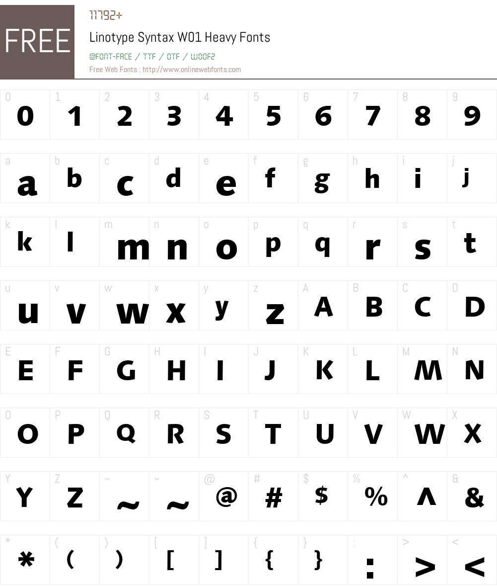 LinotypeSyntaxW01-Heavy Font Screenshots