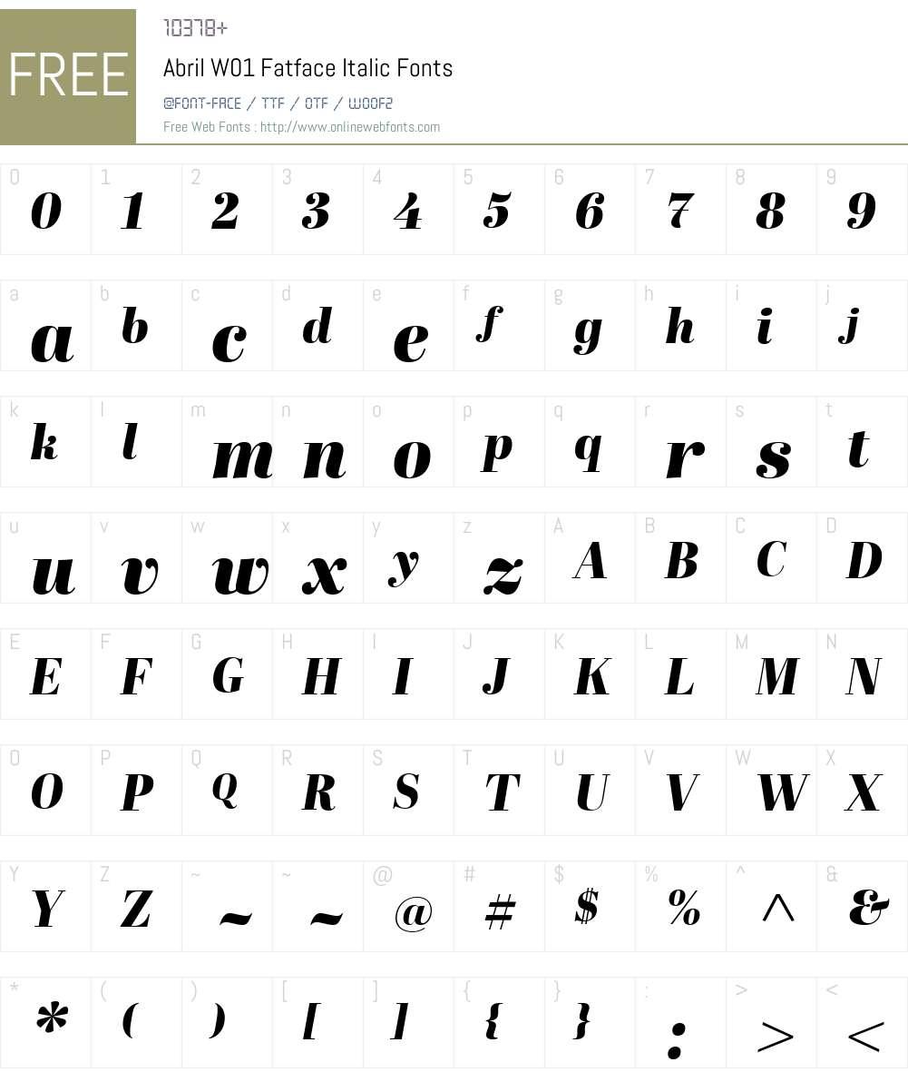 AbrilW01-FatfaceItalic Font Screenshots