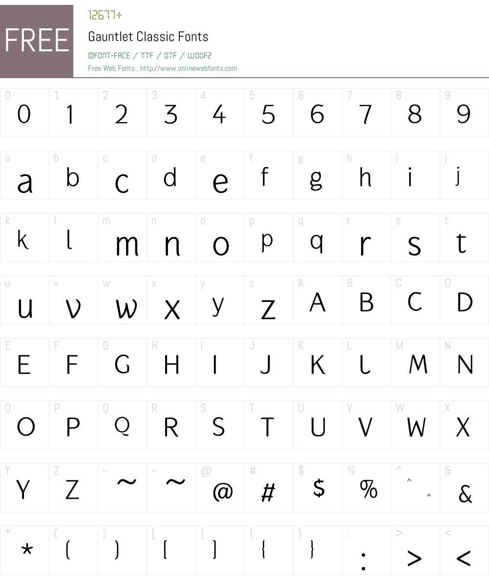 Gauntlet Classic Font Screenshots