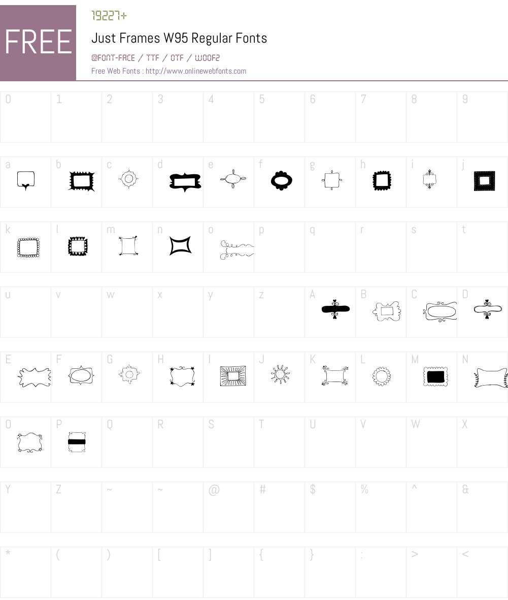JustFramesW95-Regular Font Screenshots