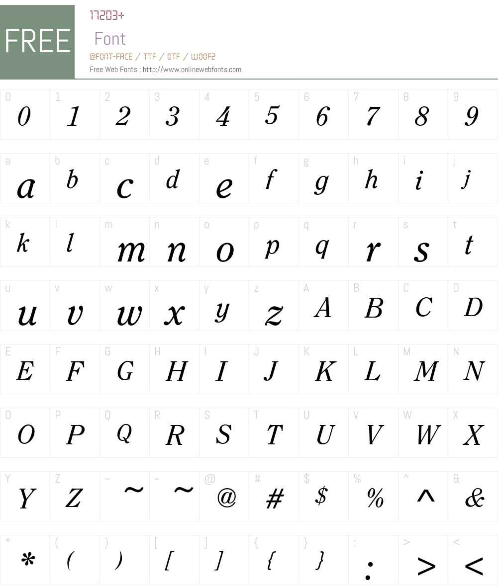 ClearfaceEF-RegularItalic Font Screenshots
