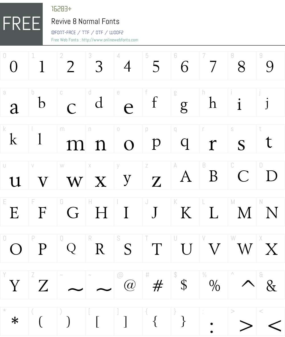 Revive 8 Font Screenshots