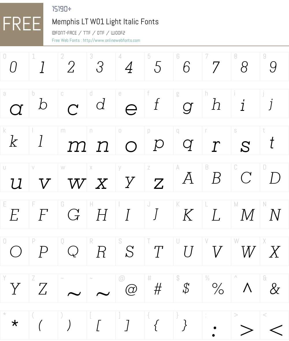 MemphisLTW01-LightItalic Font Screenshots