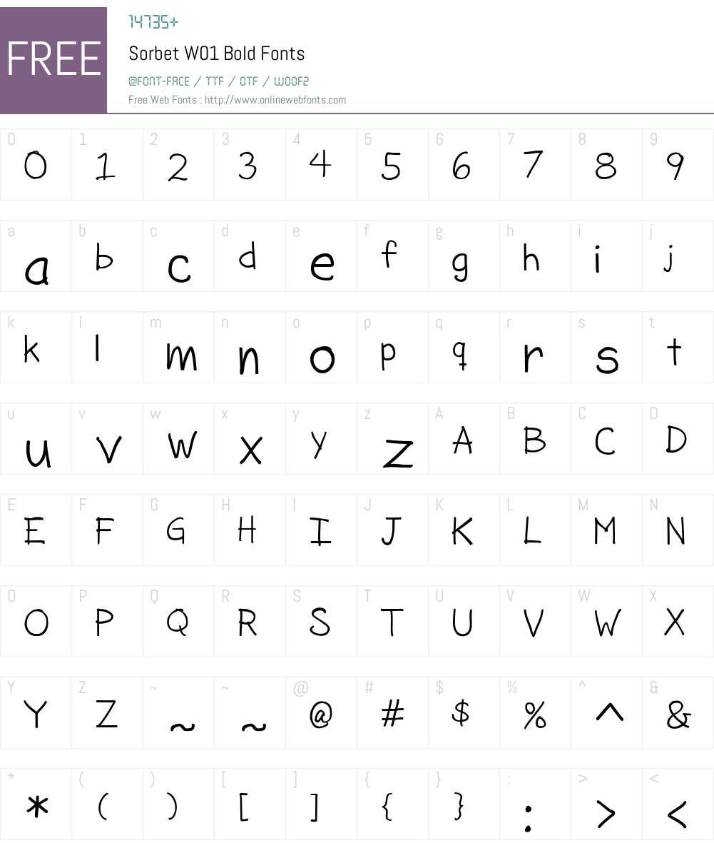 SorbetW01-Bold Font Screenshots