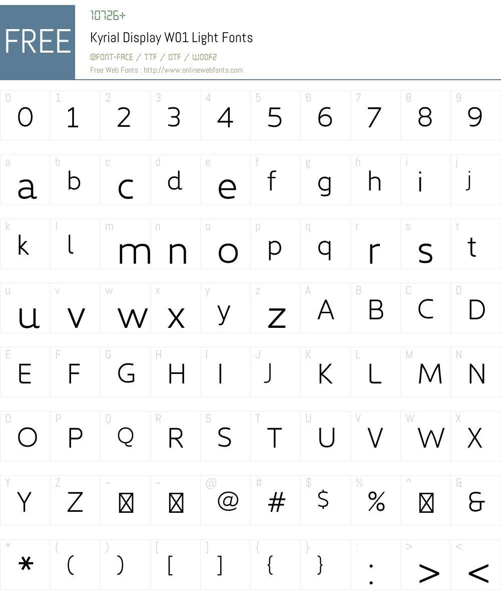 KyrialDisplayW01-Light Font Screenshots