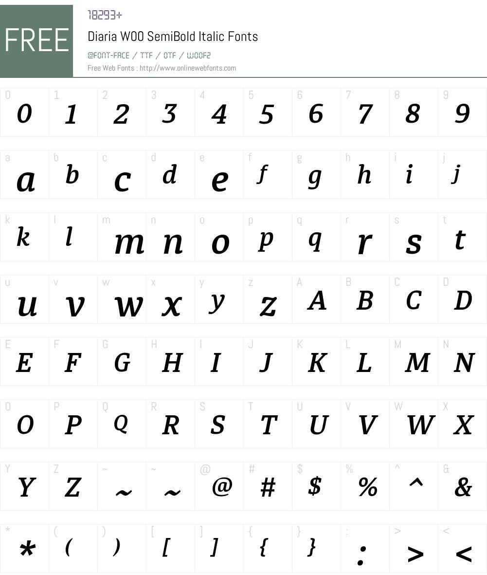 DiariaW00-SemiBoldItalic Font Screenshots