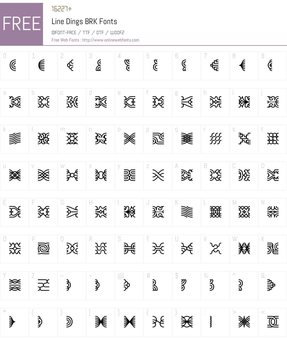 Line Dings BRK Font Screenshots