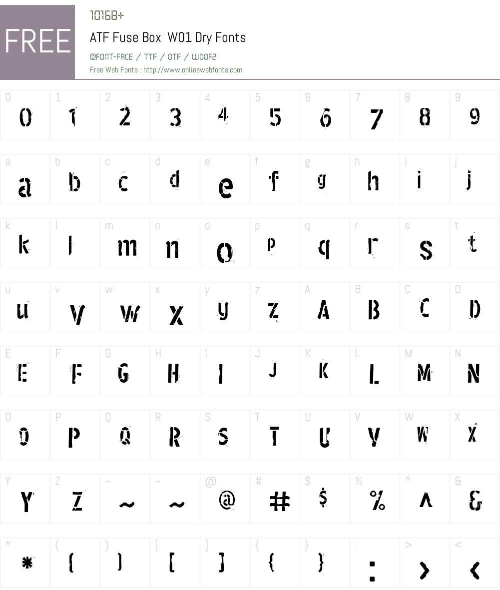 ATFFuseBoxW01-Dry Font Screenshots