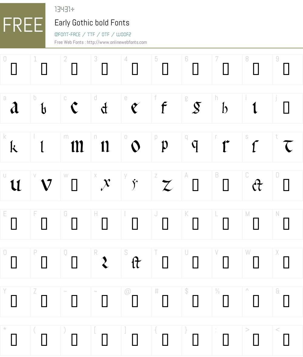 Early Gothic Font Screenshots