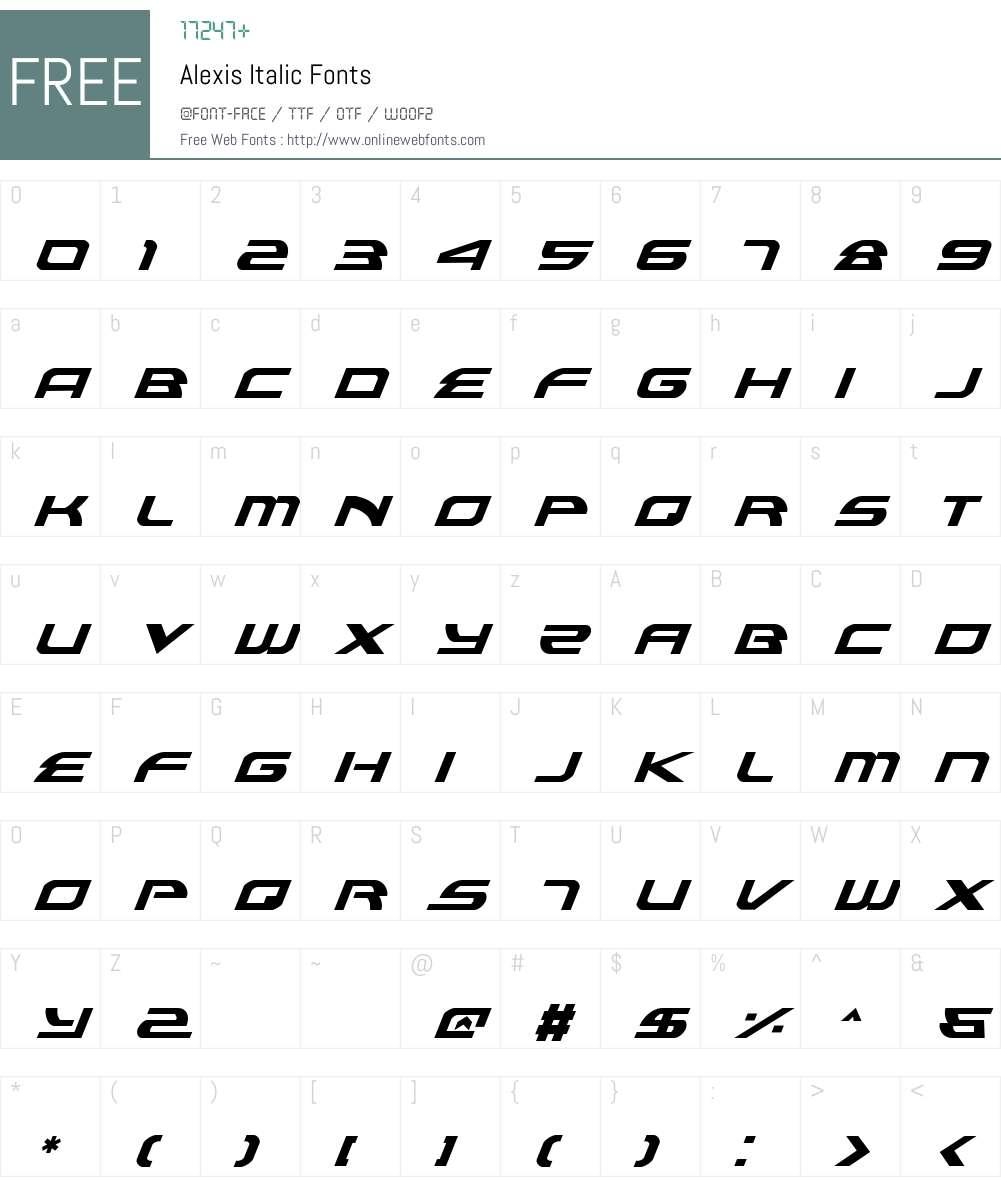 Alexis Italic Font Screenshots