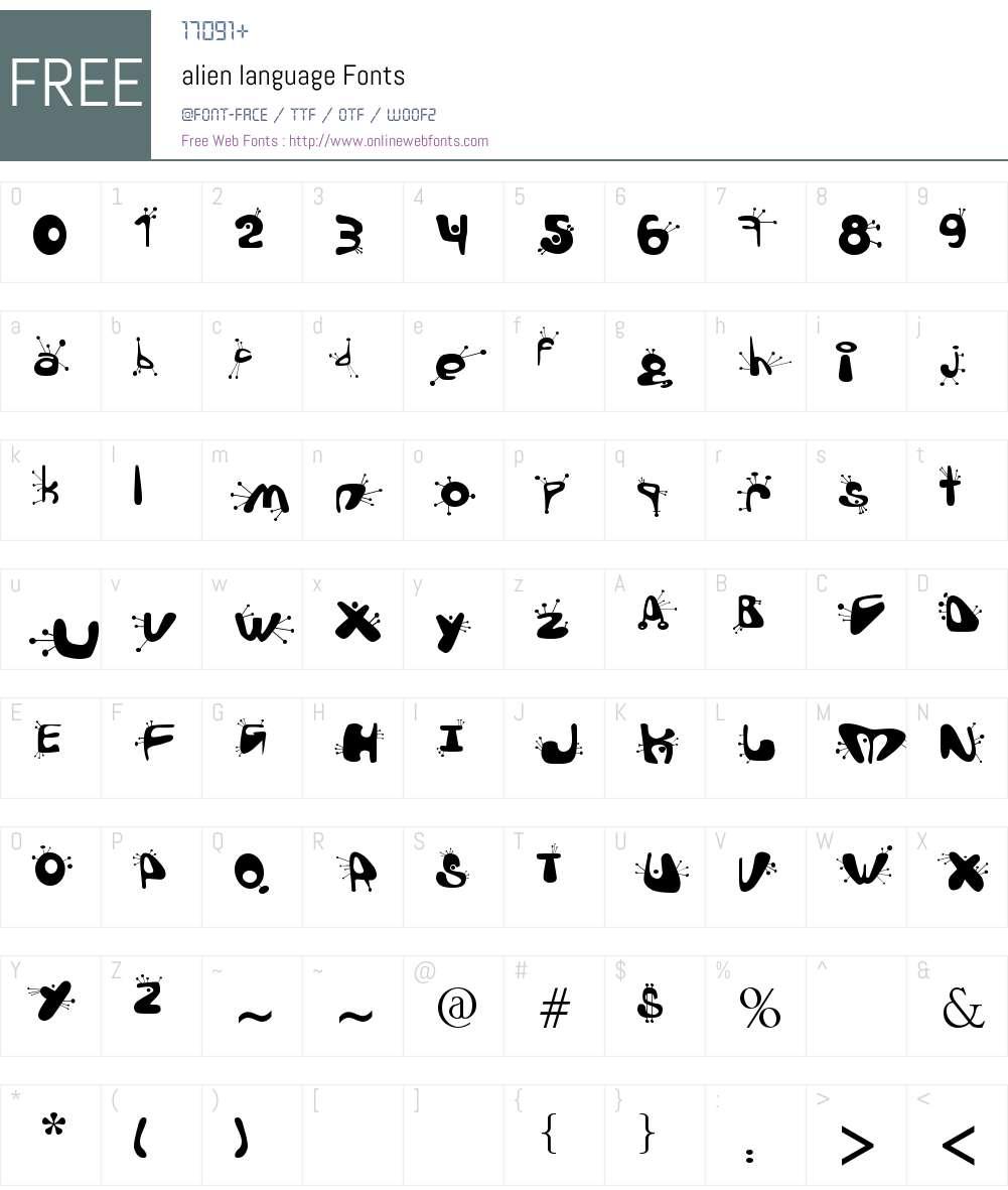 alien language Font Screenshots