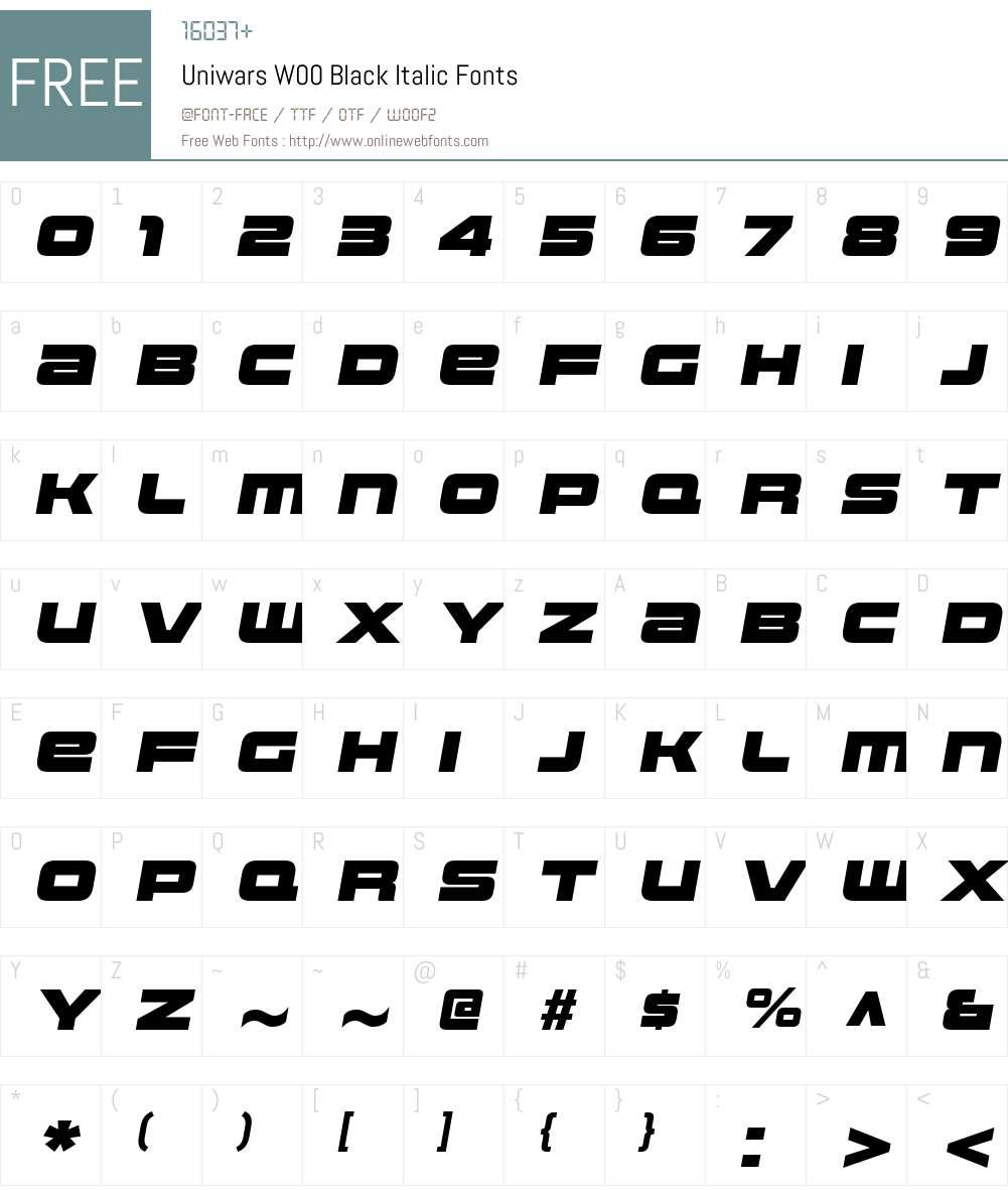 UniwarsW00-BlackItalic Font Screenshots