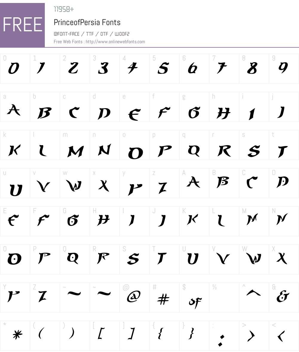 PrinceofPersia Font Screenshots