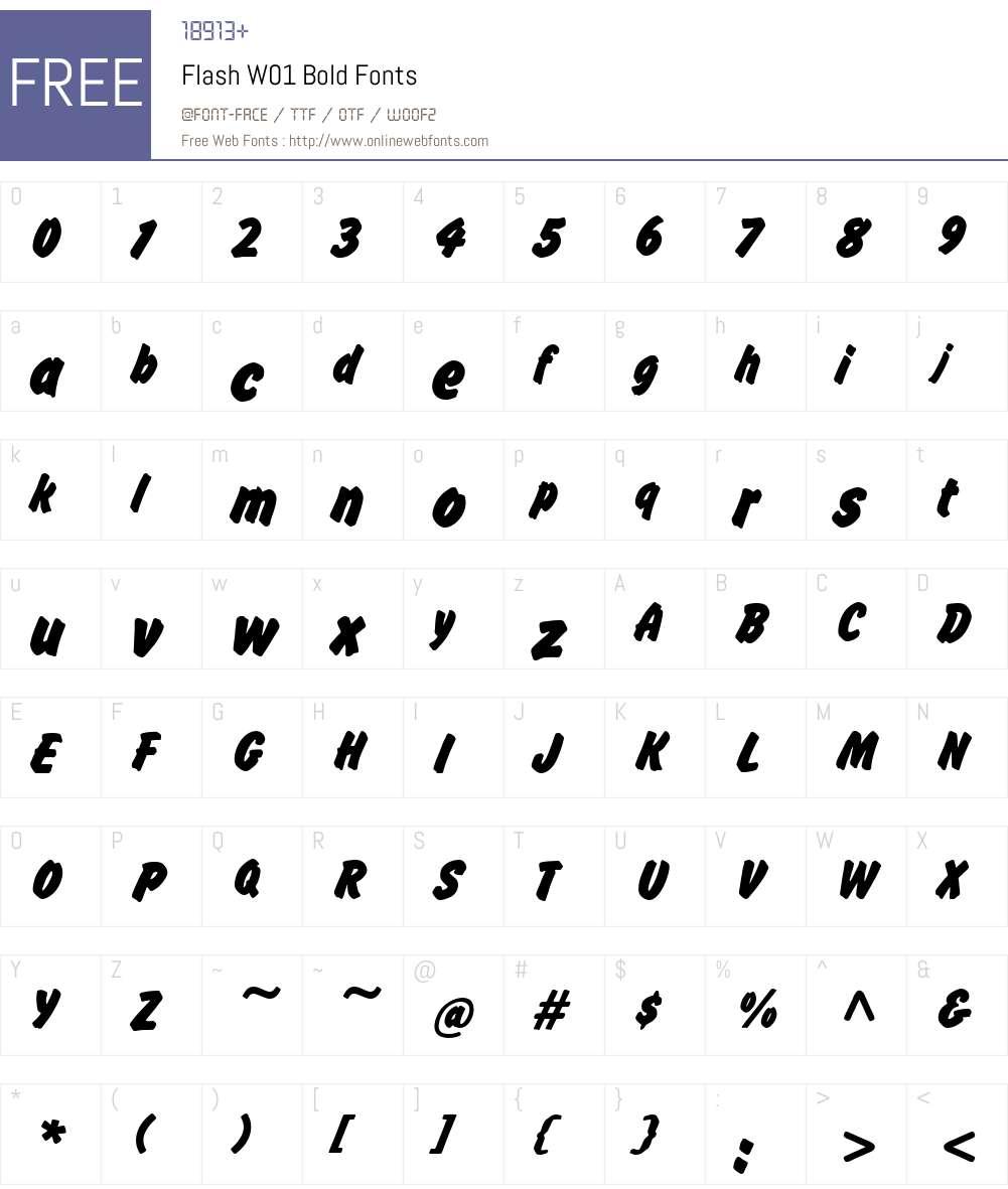 FlashW01-Bold Font Screenshots