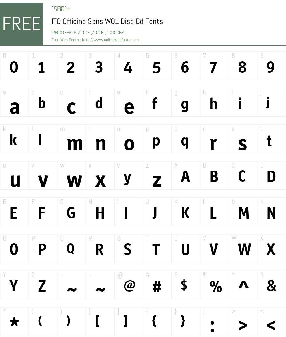 ITCOfficinaSansW01-DispBd Font Screenshots