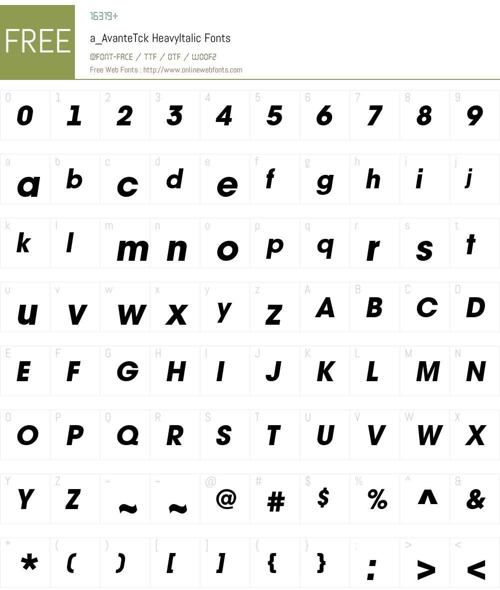 a_AvanteTck Font Screenshots