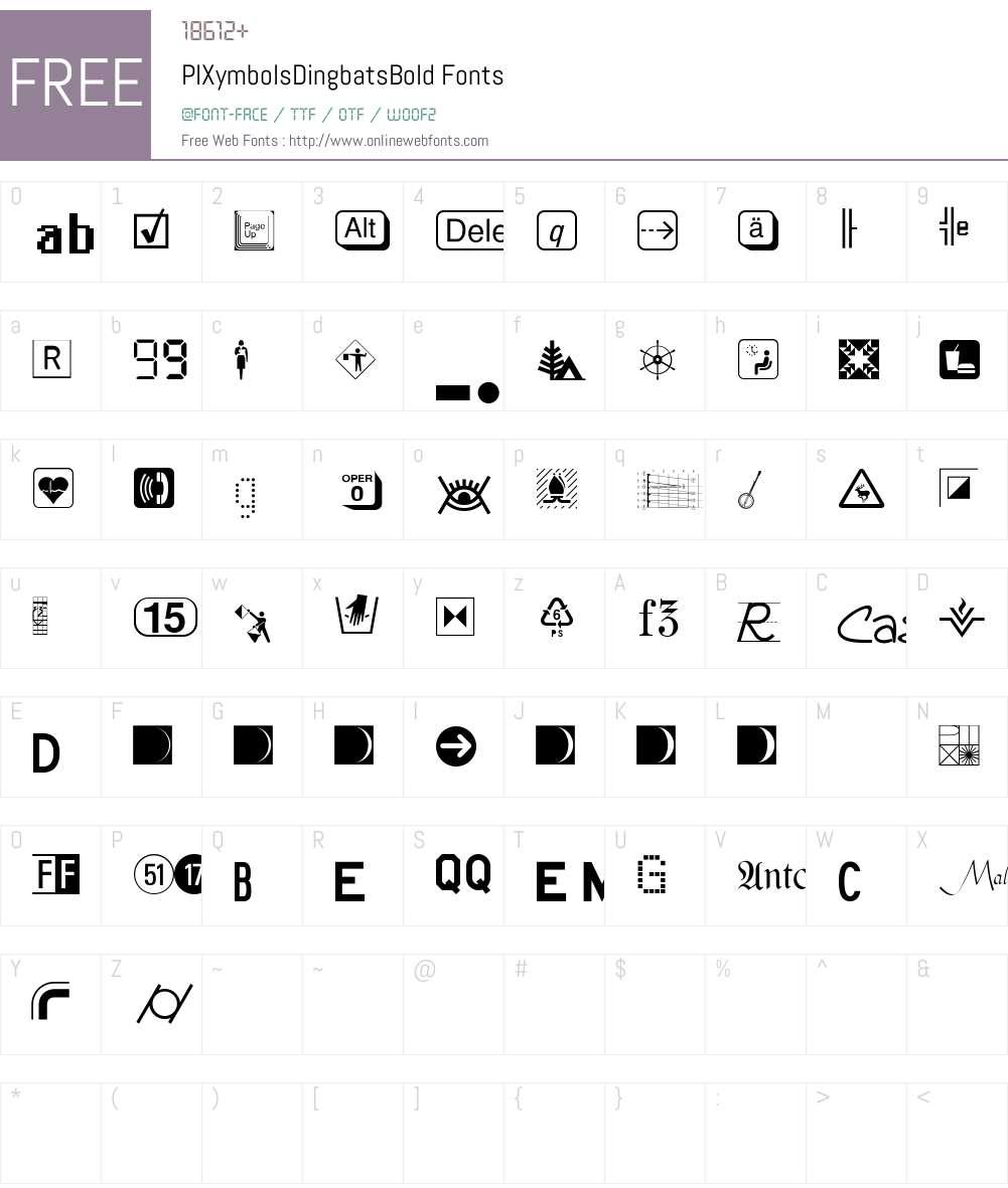 PIXymbolsDingbats Font Screenshots