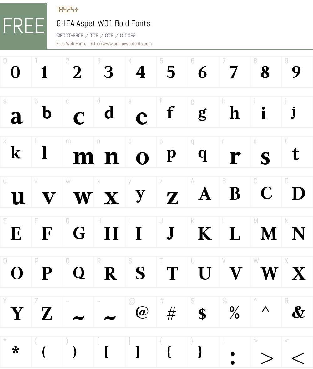 GHEAAspetW01-Bold Font Screenshots