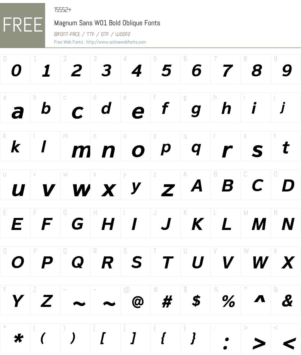 MagnumSansW01-BoldOblique Font Screenshots