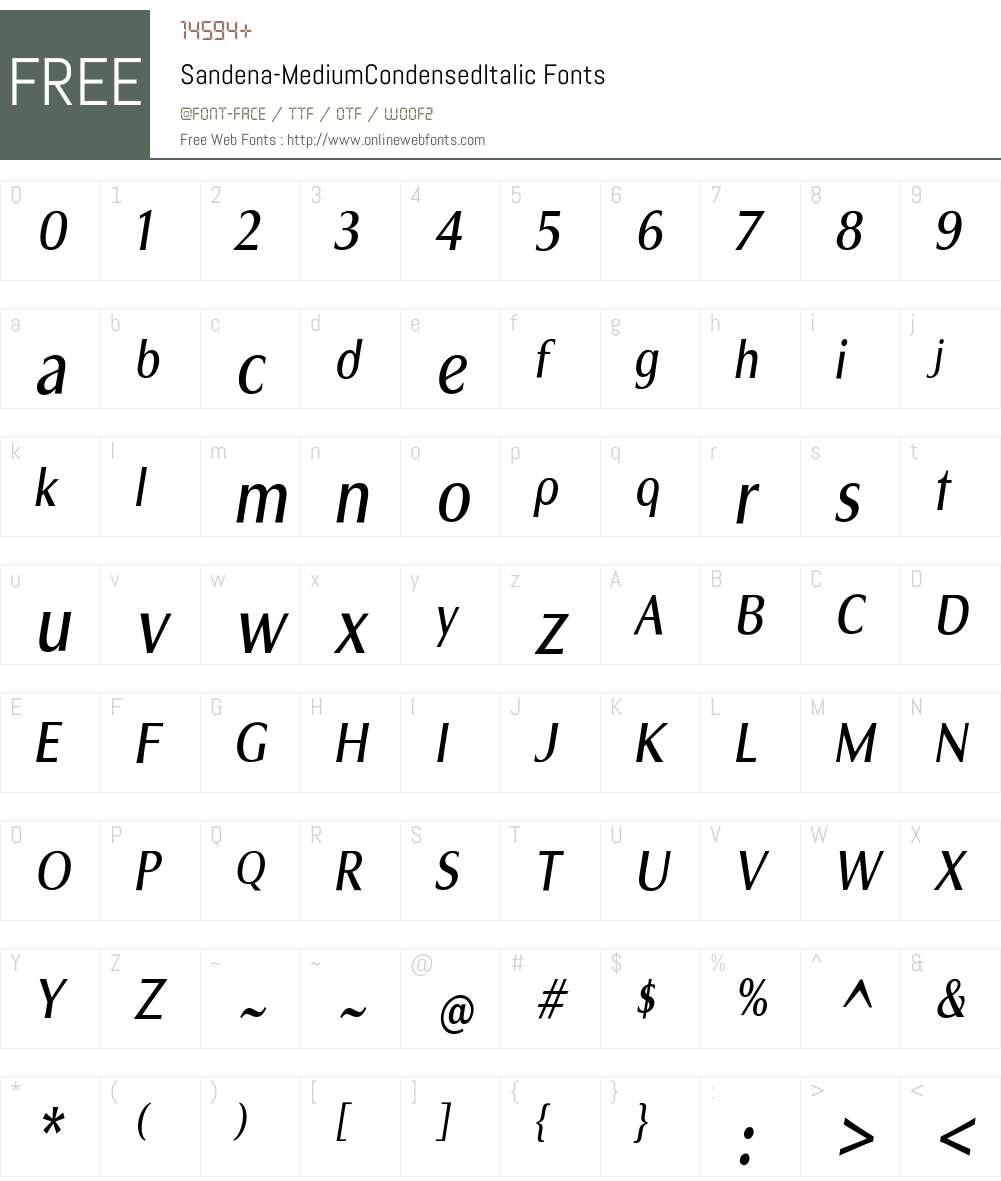 Sandena Medium Cond Italic Font Screenshots