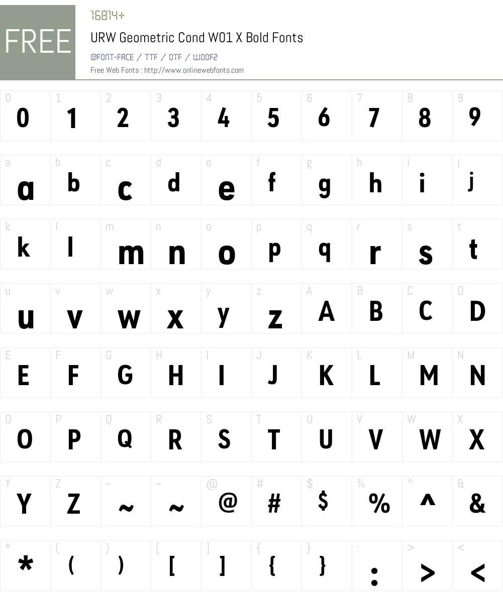 URWGeometricCondW01-XBold Font Screenshots