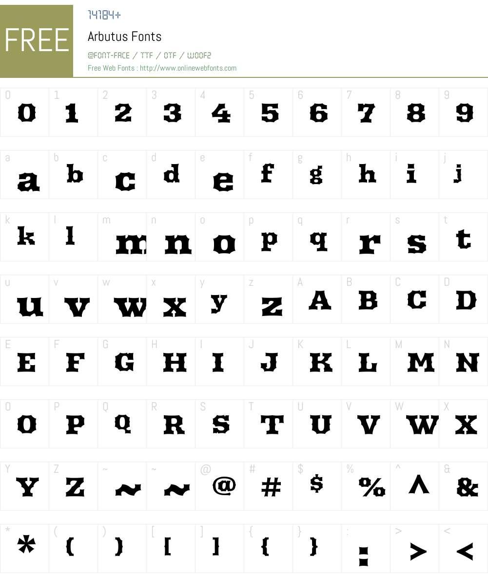 Arbutus Font Screenshots