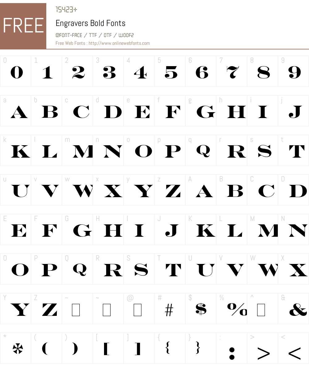Engravers Bold Font Screenshots