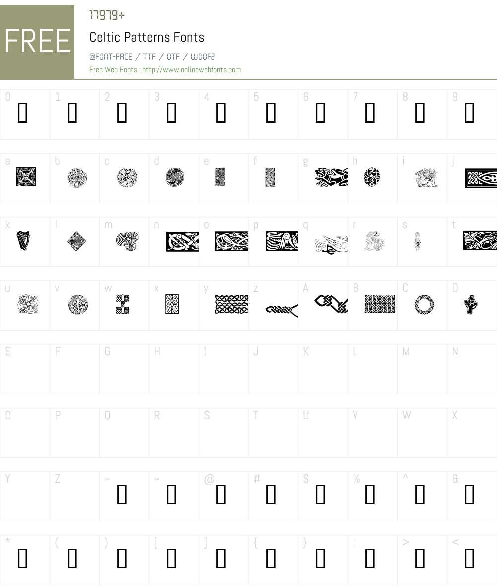 Celtic Patterns Font Screenshots