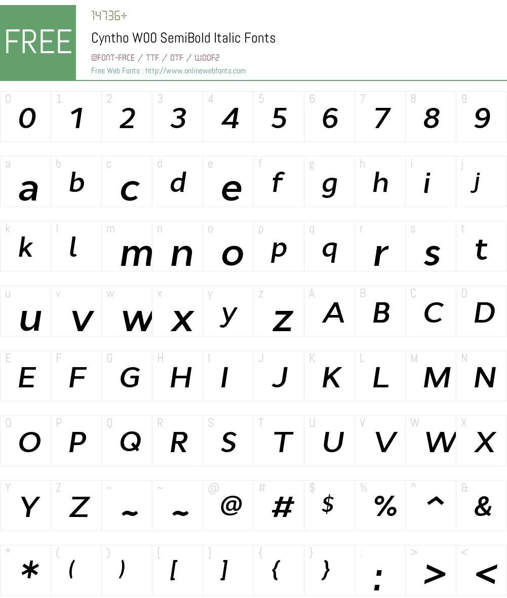 CynthoW00-SemiBoldItalic Font Screenshots