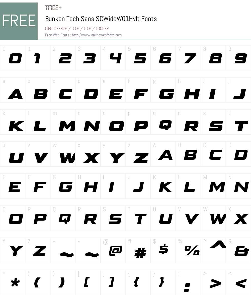 BunkenTechSansSCWideW01-HvIt Font Screenshots