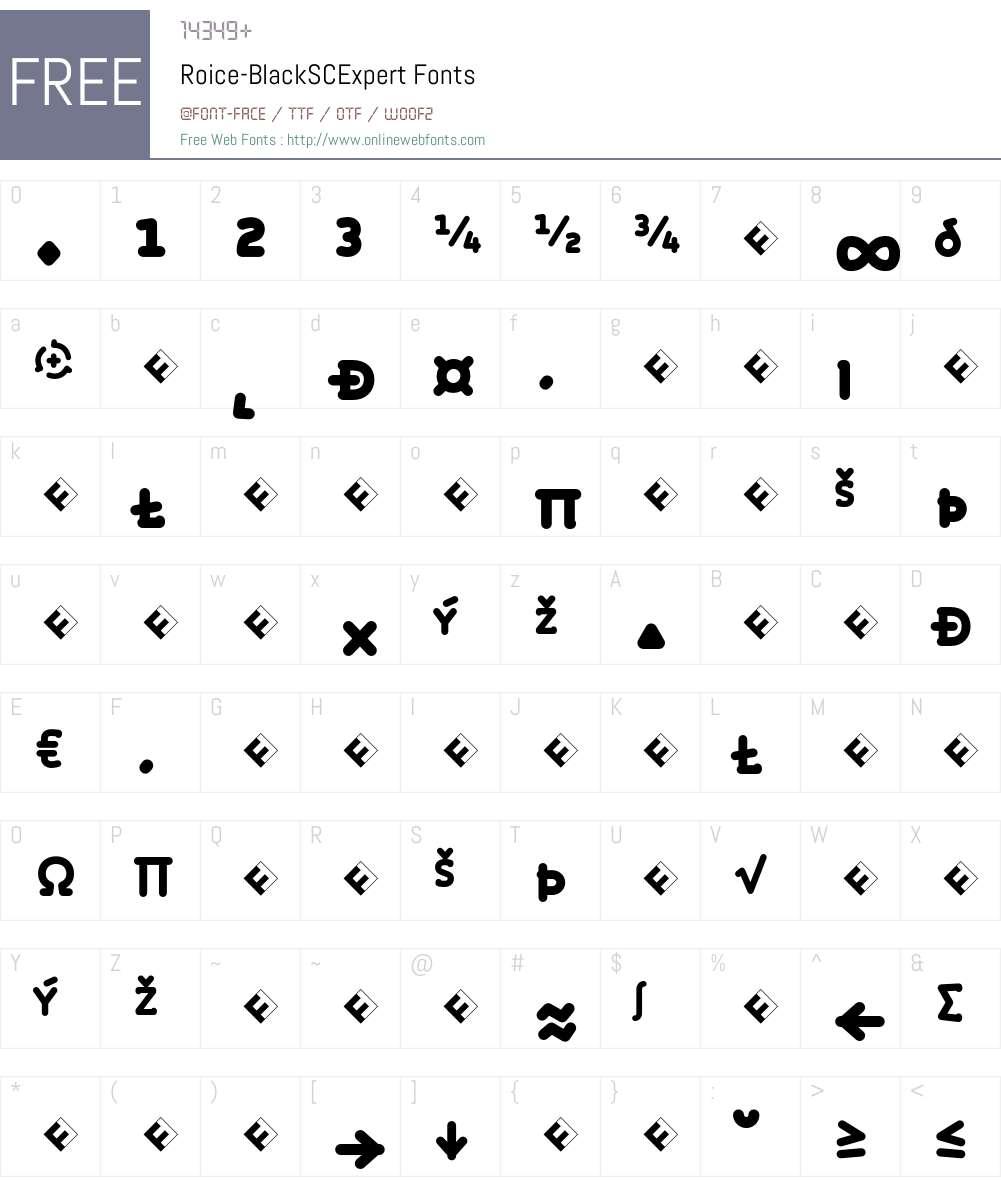 Roice-BlackSCExpert Font Screenshots