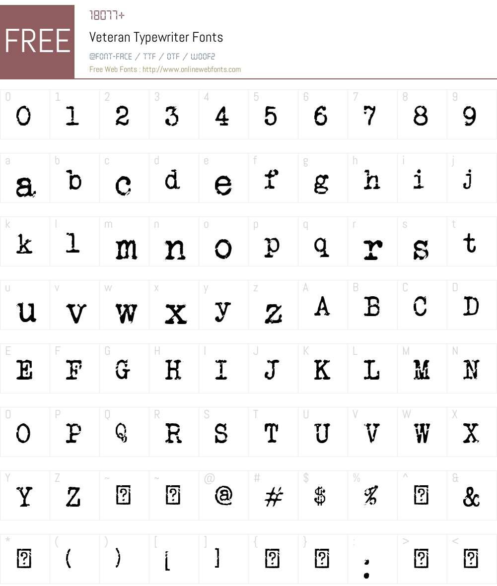 Veteran Typewriter Font Screenshots