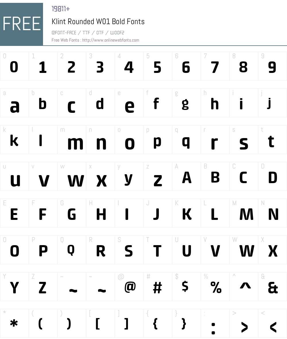 KlintRoundedW01-Bold Font Screenshots