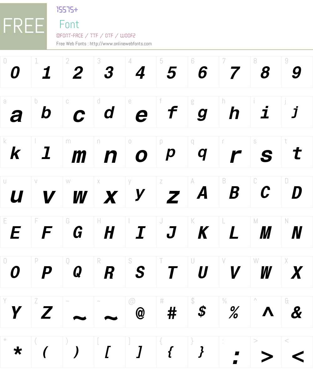 Helvetica Monospaced Font Screenshots