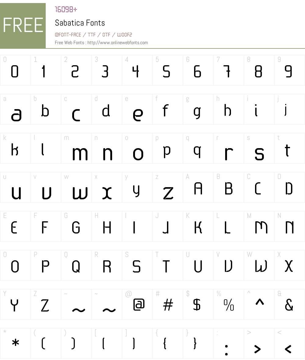 Sabtica Font Screenshots