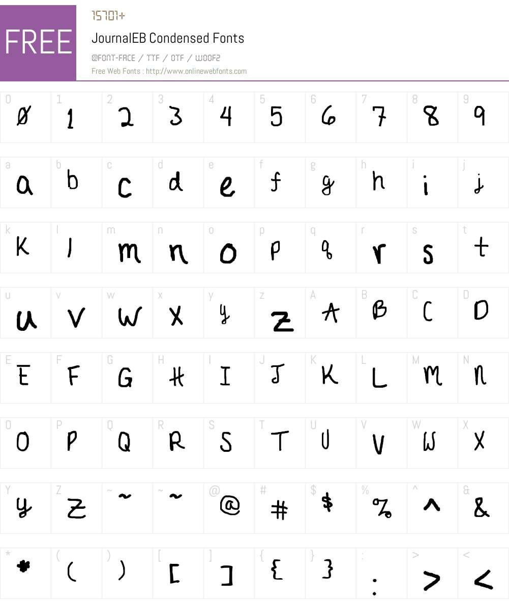 JournalEB Condensed Font Screenshots