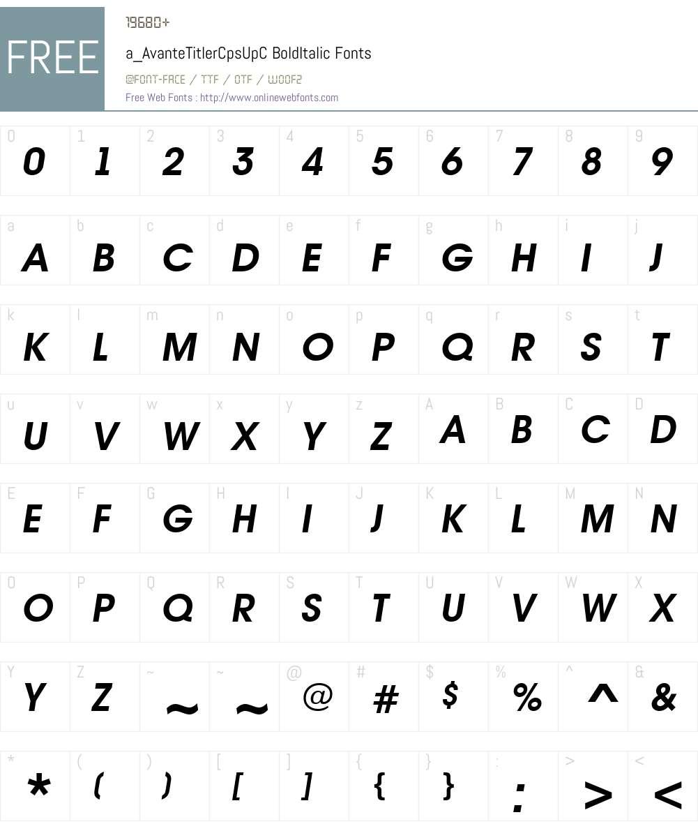 a_AvanteTitlerCpsUpC Font Screenshots