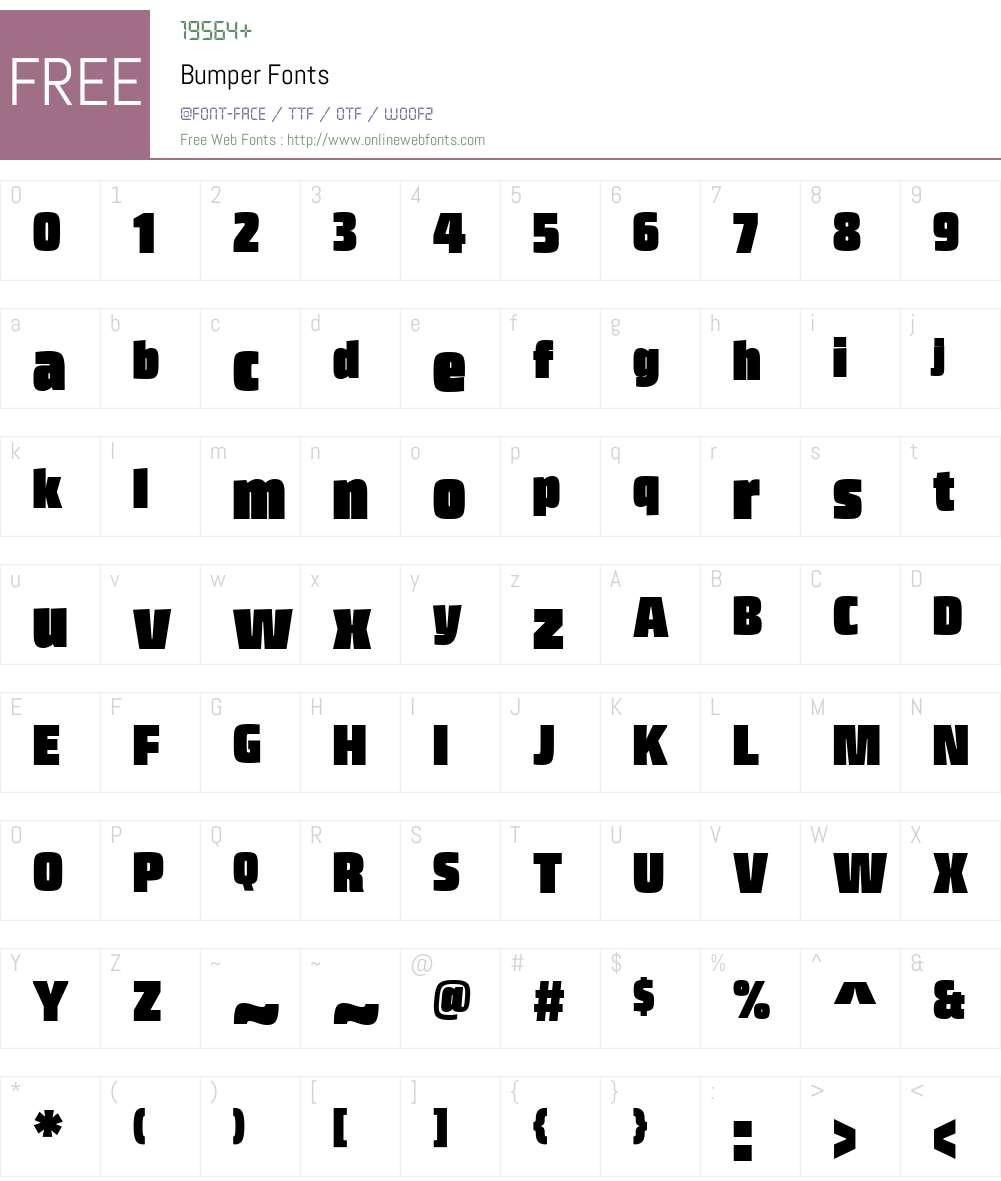 Bumper Font Screenshots