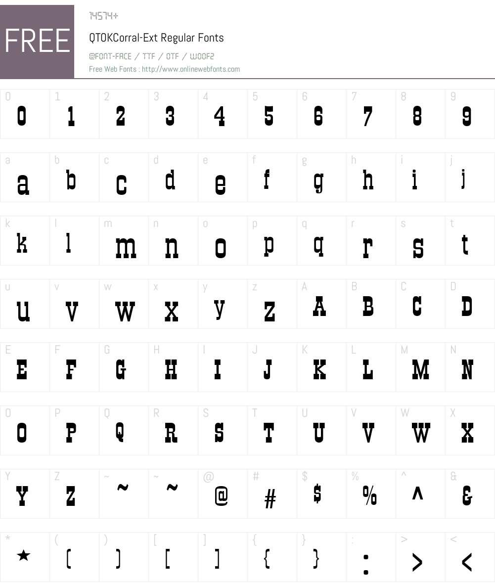 QTOKCorral-Ext Font Screenshots